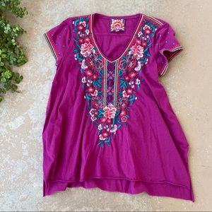Johnny Was Maroon Embroidered Knit Tunic Top